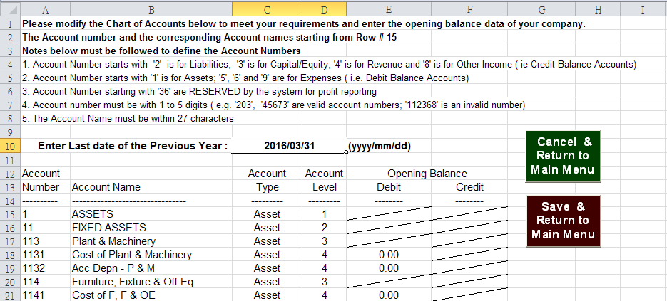 Chart of Account Setup