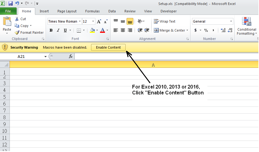 Macro Enable for Excel 2010